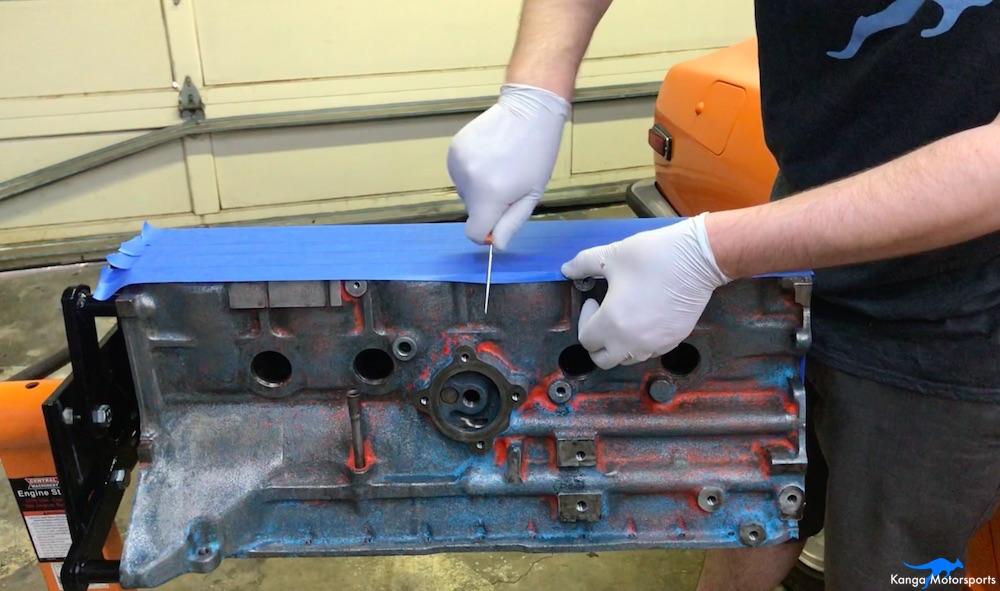 Kanga Motorsports Datsun 240z Engine Build Painting the Engine Block Masking Detail.jpg