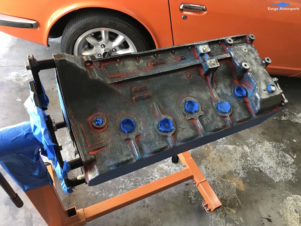 Kanga Motorsports Datsun 240z Engine Build Painting the Engine Block Masking.JPG