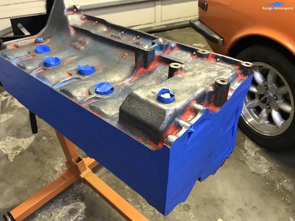 Kanga Motorsports Datsun 240z Engine Build Painting the Engine Block Finishing the Masking.JPG