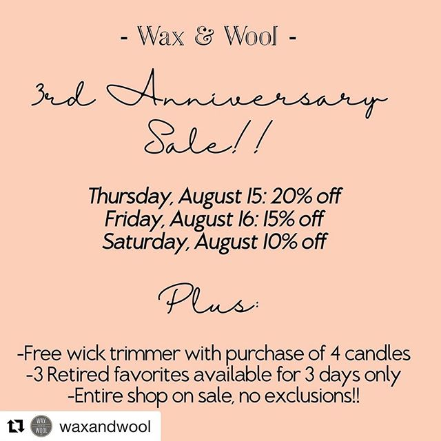 Look friends!  Head on over to @waxandwool and get in on her amazing candles!  PLUS they are having their 3rd anniversary sale!  Your support has helped them make it this far and for many more anniversaries!  #waxandwool #smallbusiness #supportsmallbusiness #soycandles #candlesale