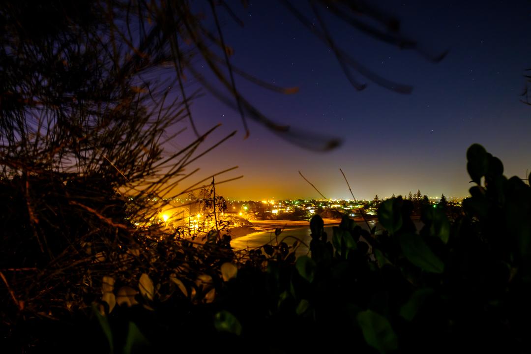 Moffat Beach after dark