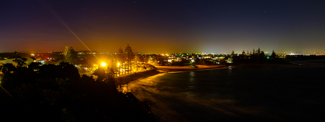 Moffat Beach at night