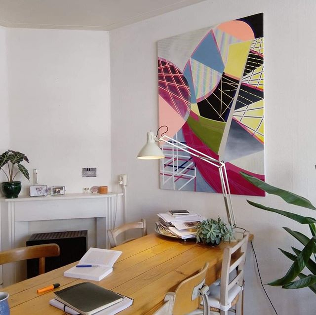 Earlier this year, my 2018 painting 'acidcolony I' went to go and live in @gijsverbossen's apartment in Amsterdam. He recently sent me this picture of the work in its new home -- it looks so perfect in that cool European light! ❤️