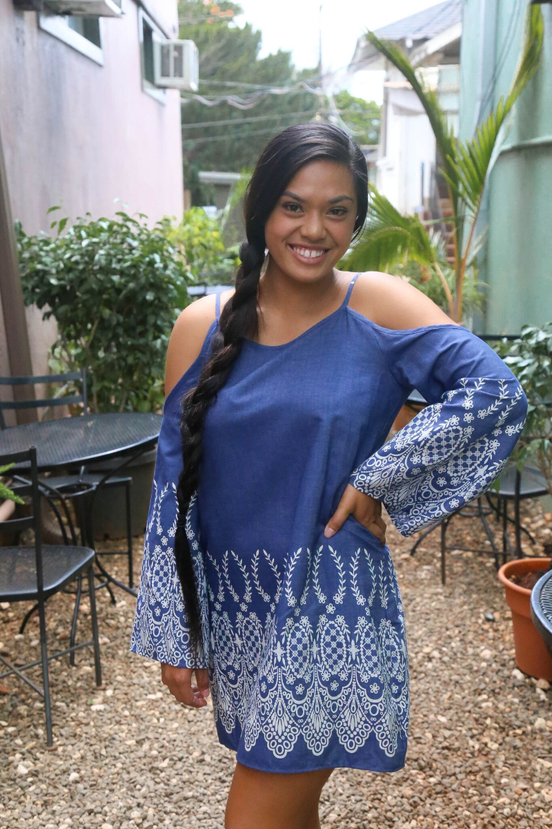 Our first look is a denim inspired cold-shoulder dress with embroidery trimming, perfect for any summer party.