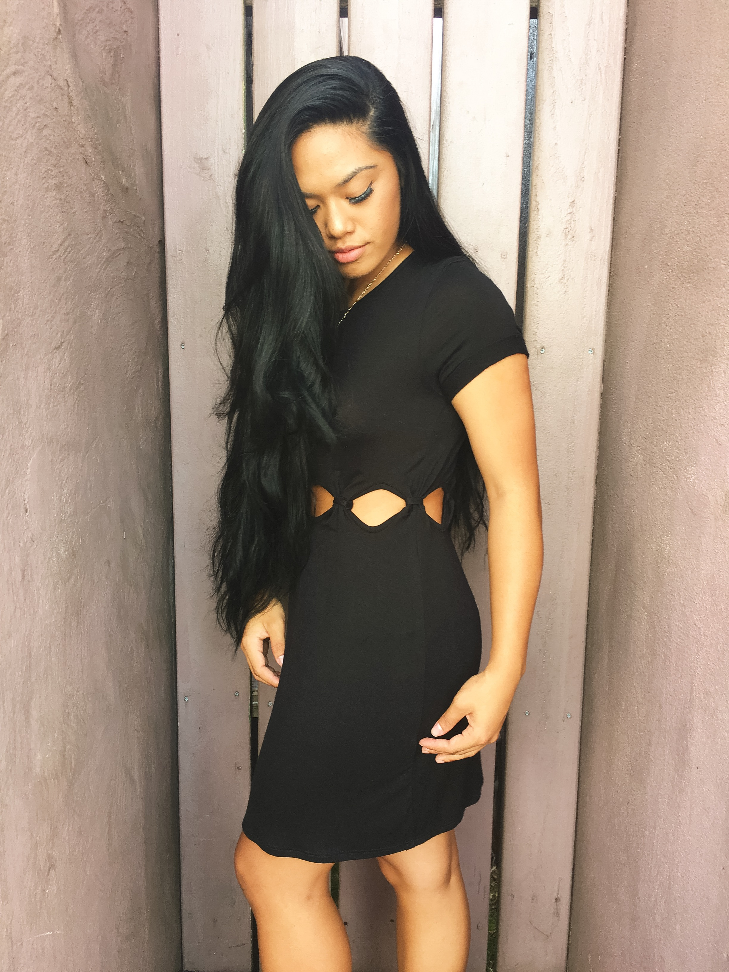 This LBD with the cutout detail, is also a comfortable t shirt style dress that can even be paired with leggings for a completely different look.