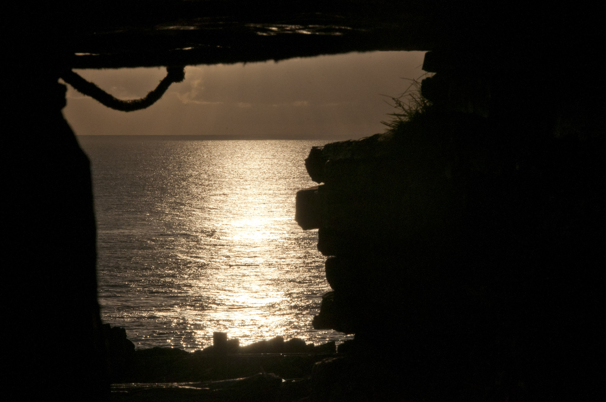 Dawn Sunlight reflecting upon the sea, as seen from inside the chamber at tomb of the eagles