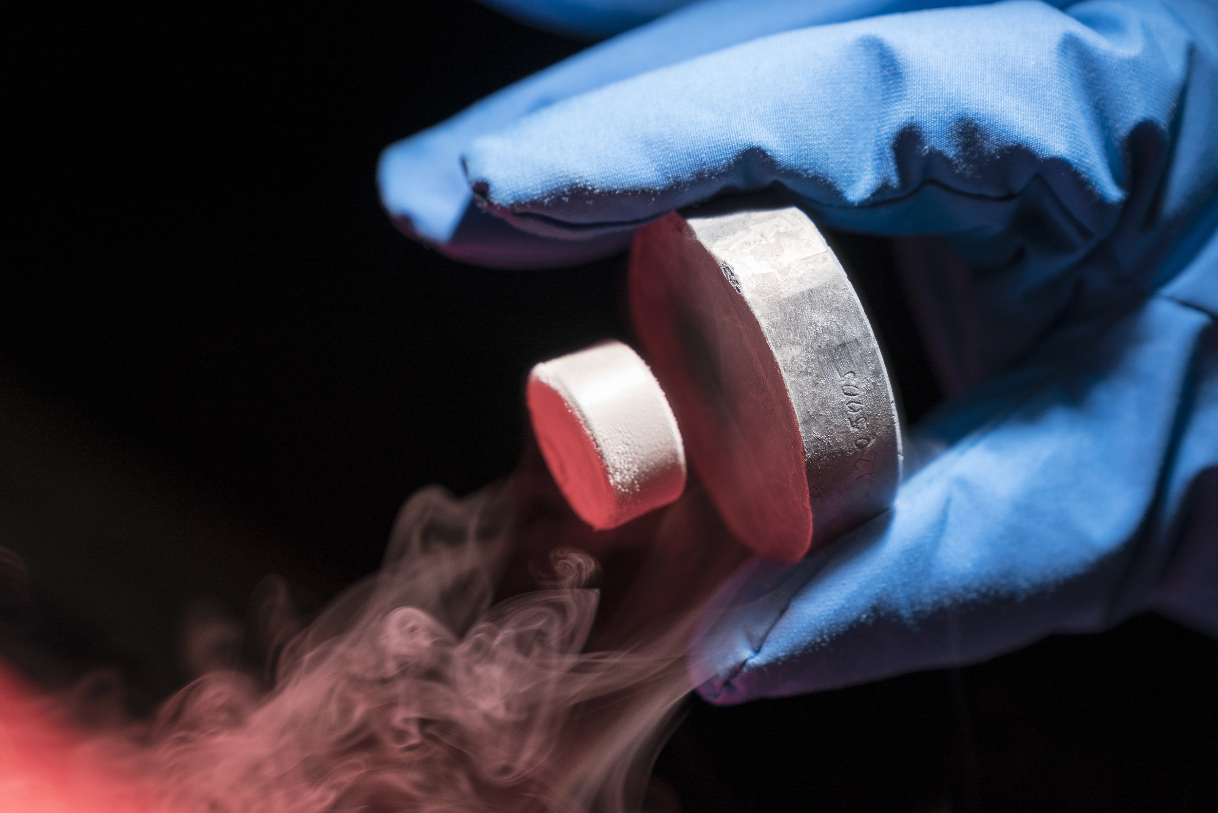A permanent magnet levitating over a YBCO high-temperature superconductor. -