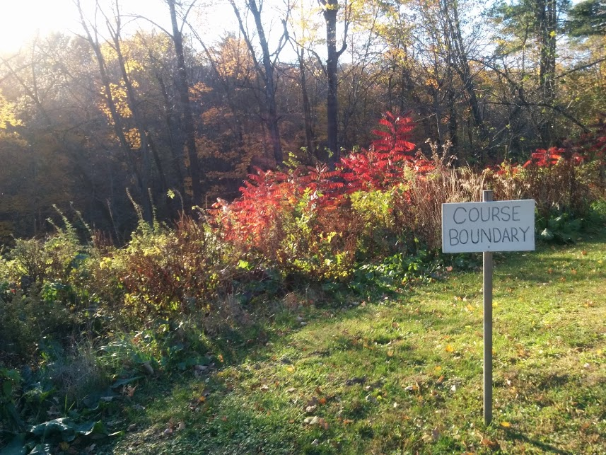 Reaching the course boundary and beautiful fall foliage in Menomonie, WI.