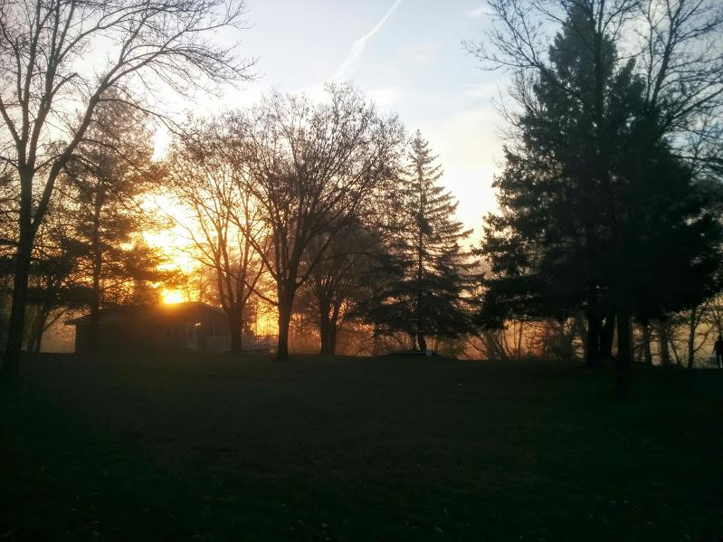 Sunrise through the mist on Day 10.