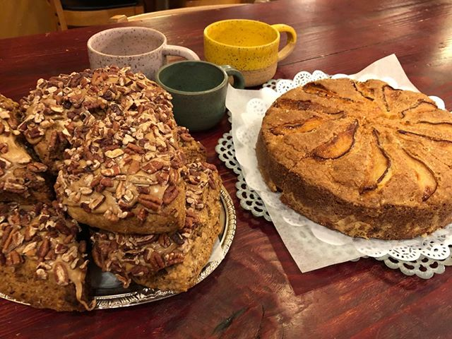New Ceramics by Audrey, Ginger Pear Coffee Cake by Alli, AND Maple Pecan Scones!!!! Yea, love Today!!!