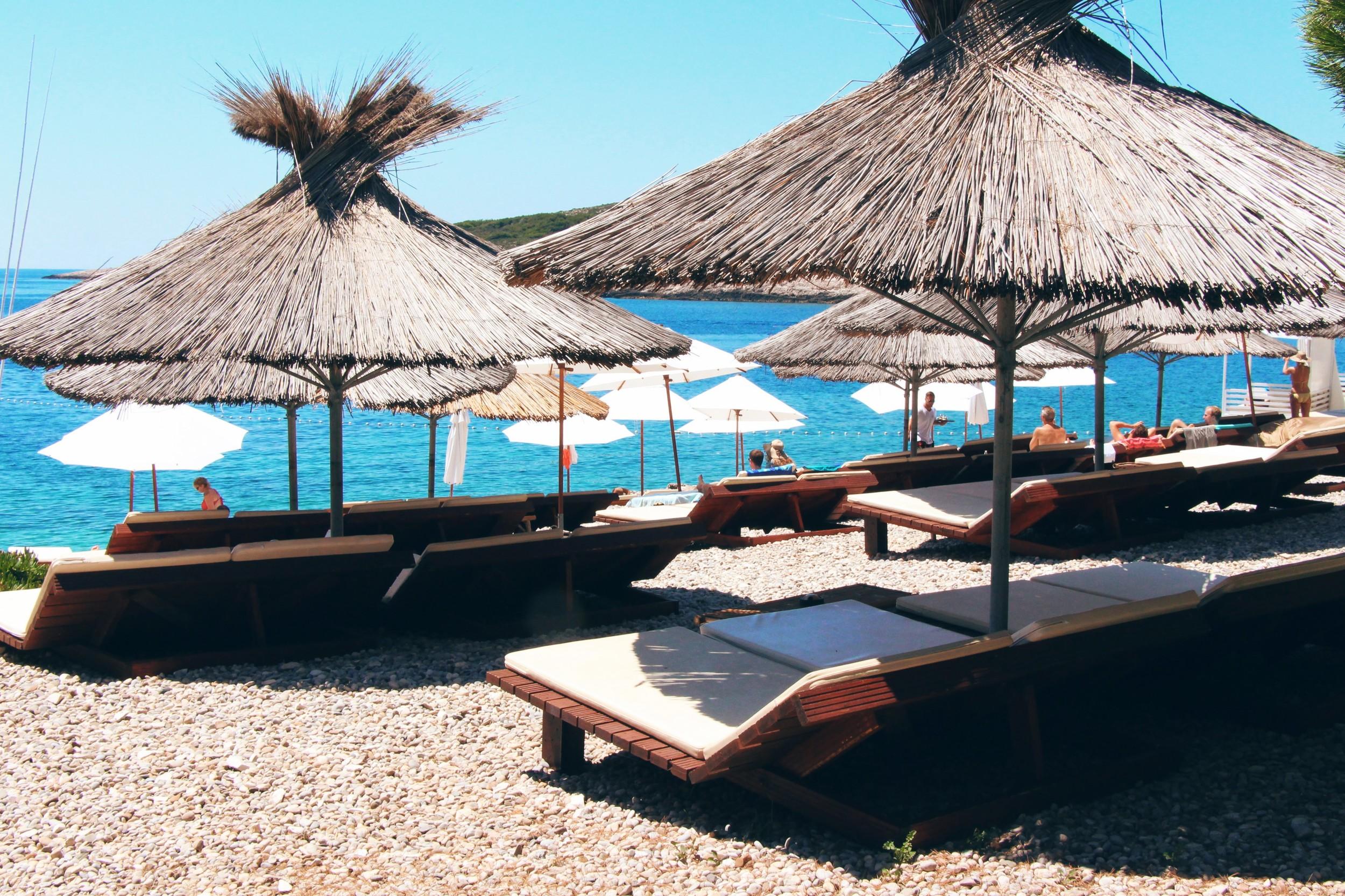 Sunbeds at Carpe Diem beach bar