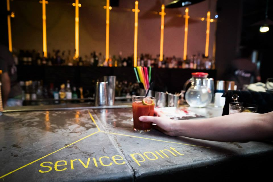 Serving bloody mary's at Cocktail Bar