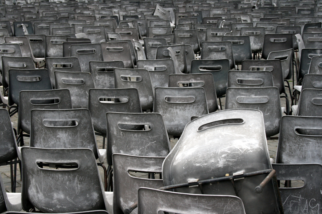 Chairs lying around in the Vatican area, outside St Peter's Basilica