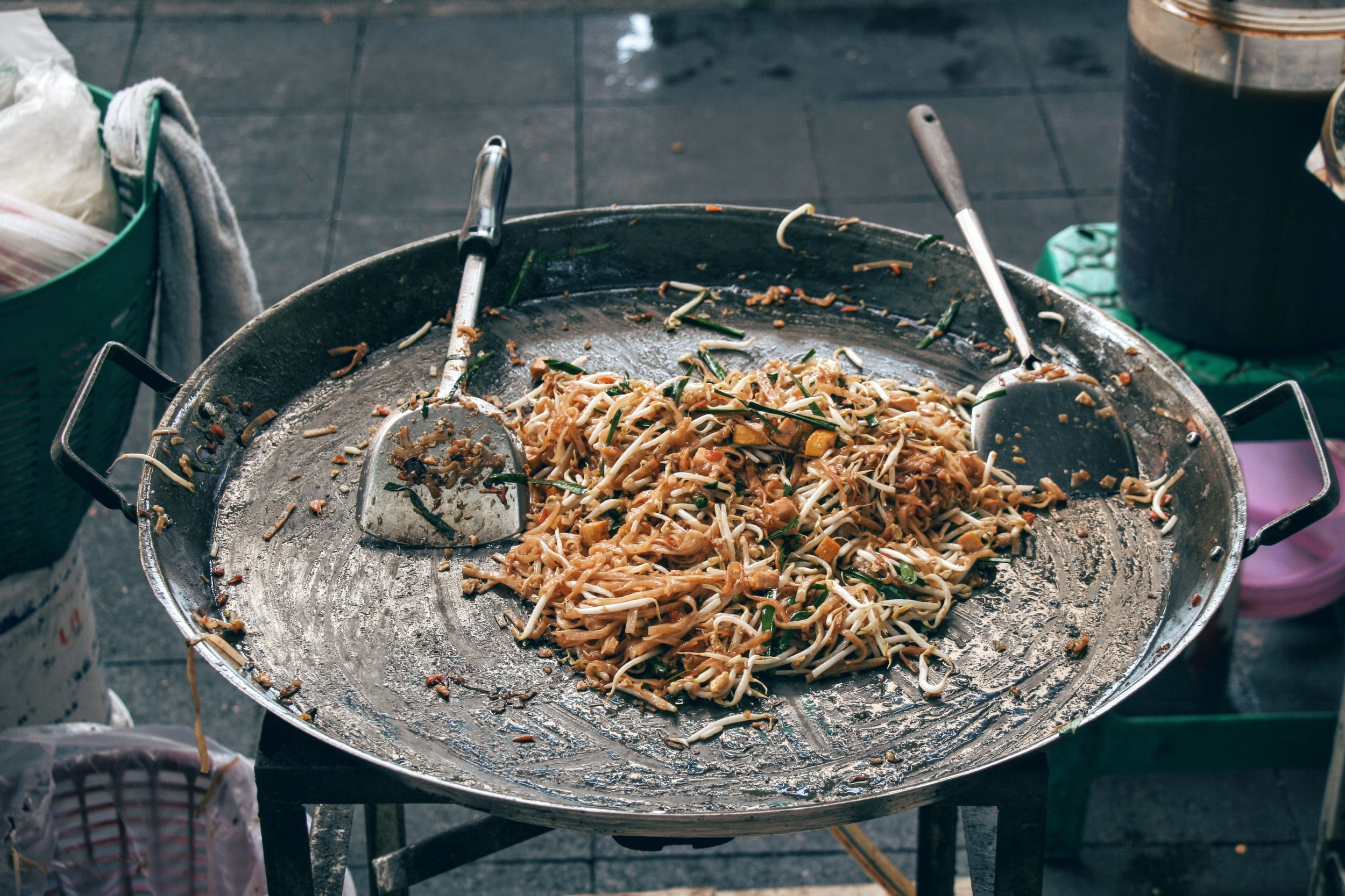Thailand's signature Pad Thai dish, prepared in an extra large pan right in front of you