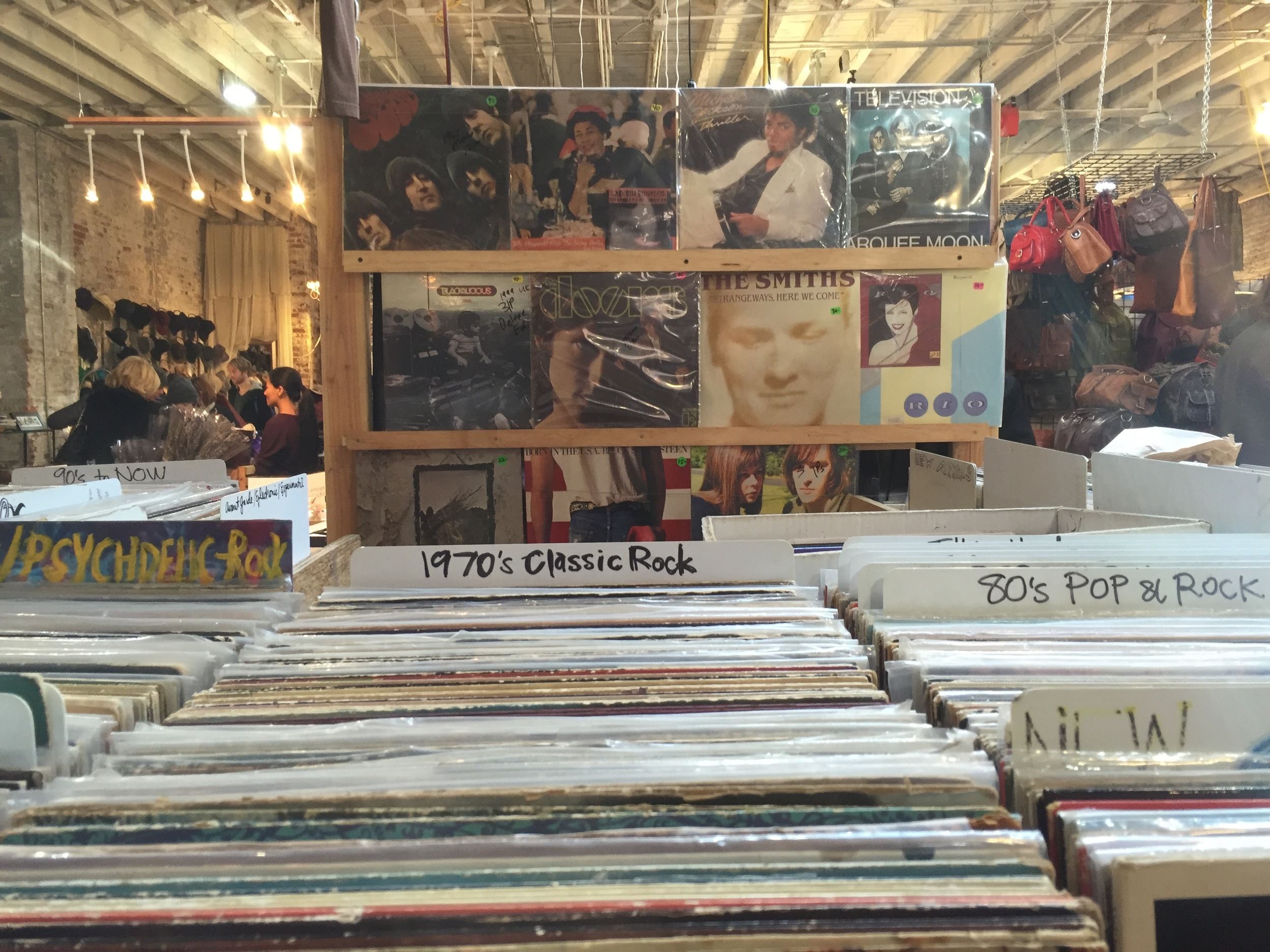 Vintage records collection at Artists & Fleas market in Williamsburg, Brooklyn