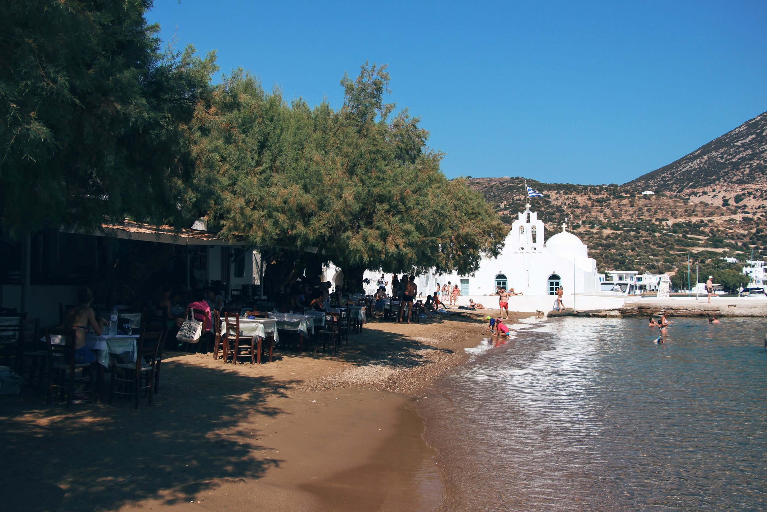 Vathy beach offers some great taverna choices