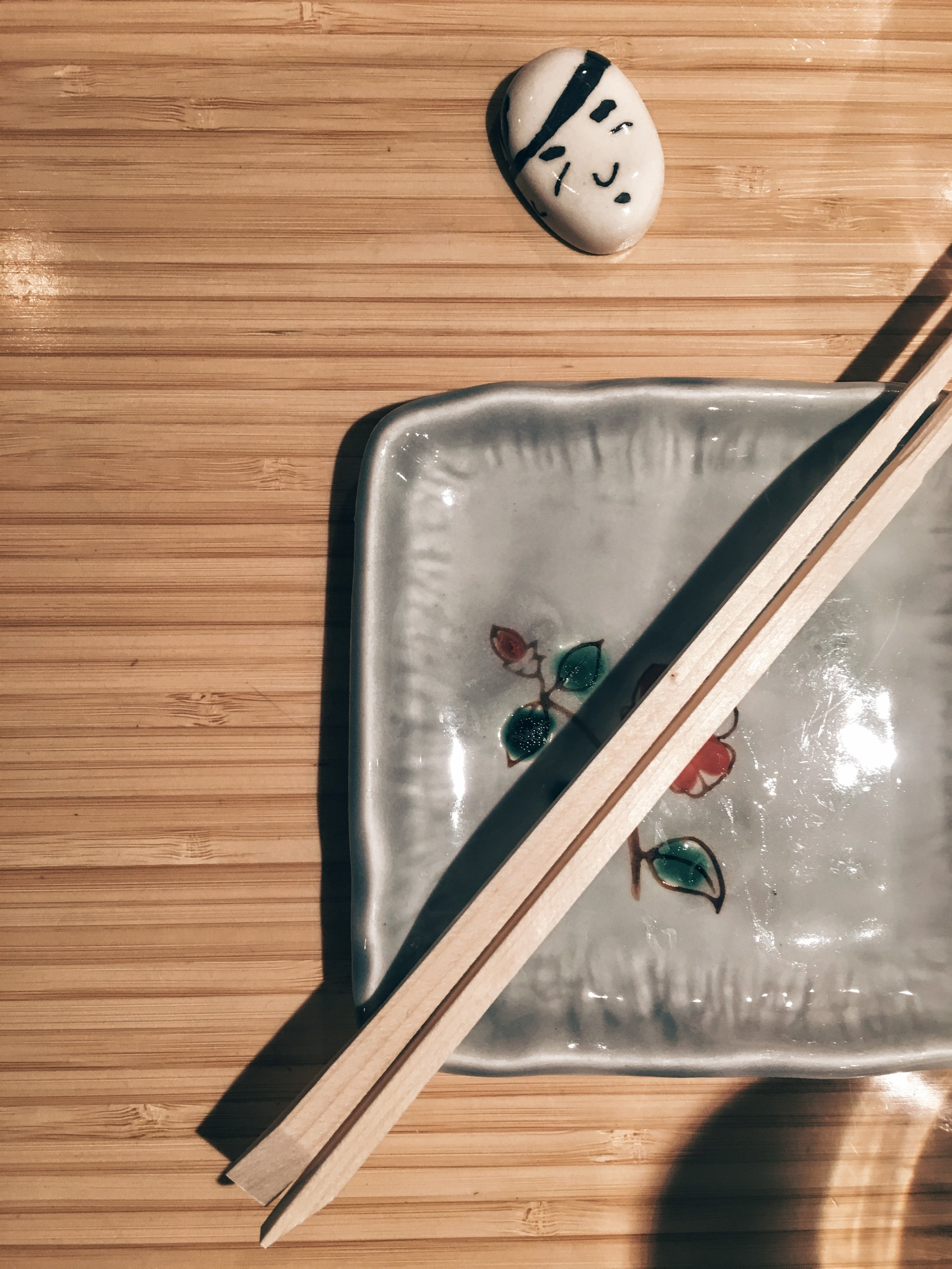 Chopsticks ready for Omakase at Michelin-star awarded sushi joint, Sushi of Gari