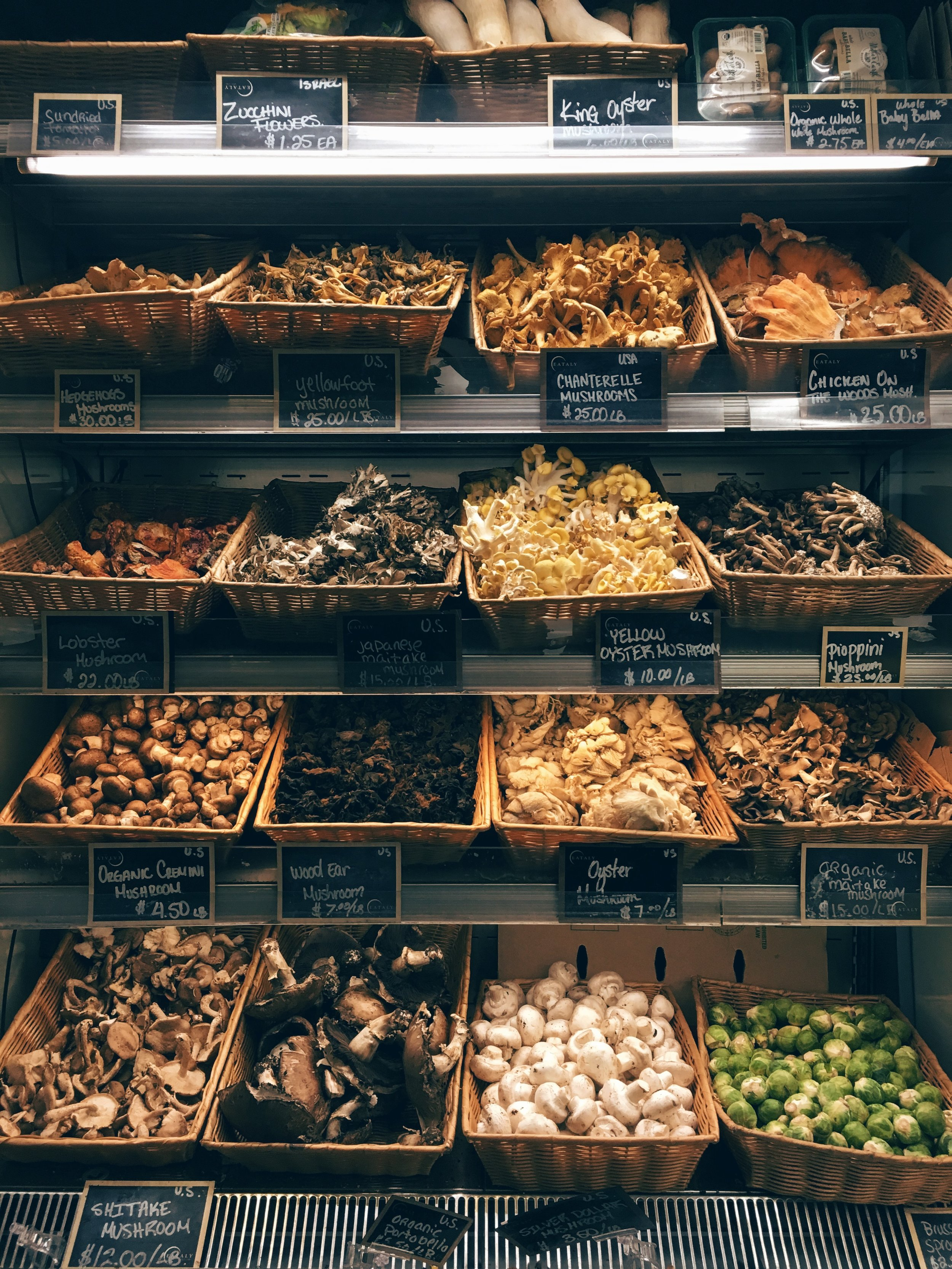 Mushrooms stand at Eataly.Take your pick!