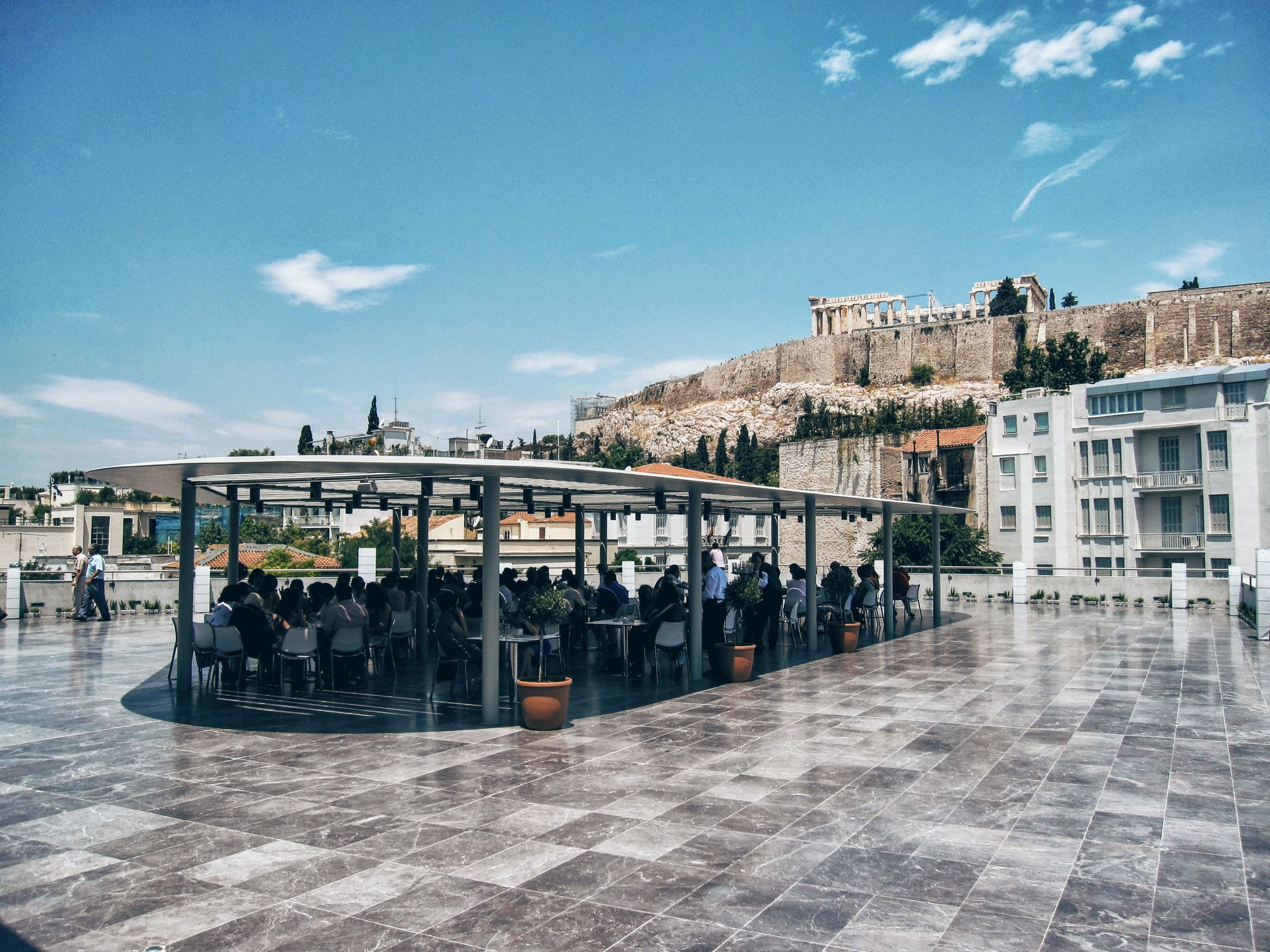 The terrace at the Acropolis Museum directly facing the Parthenon