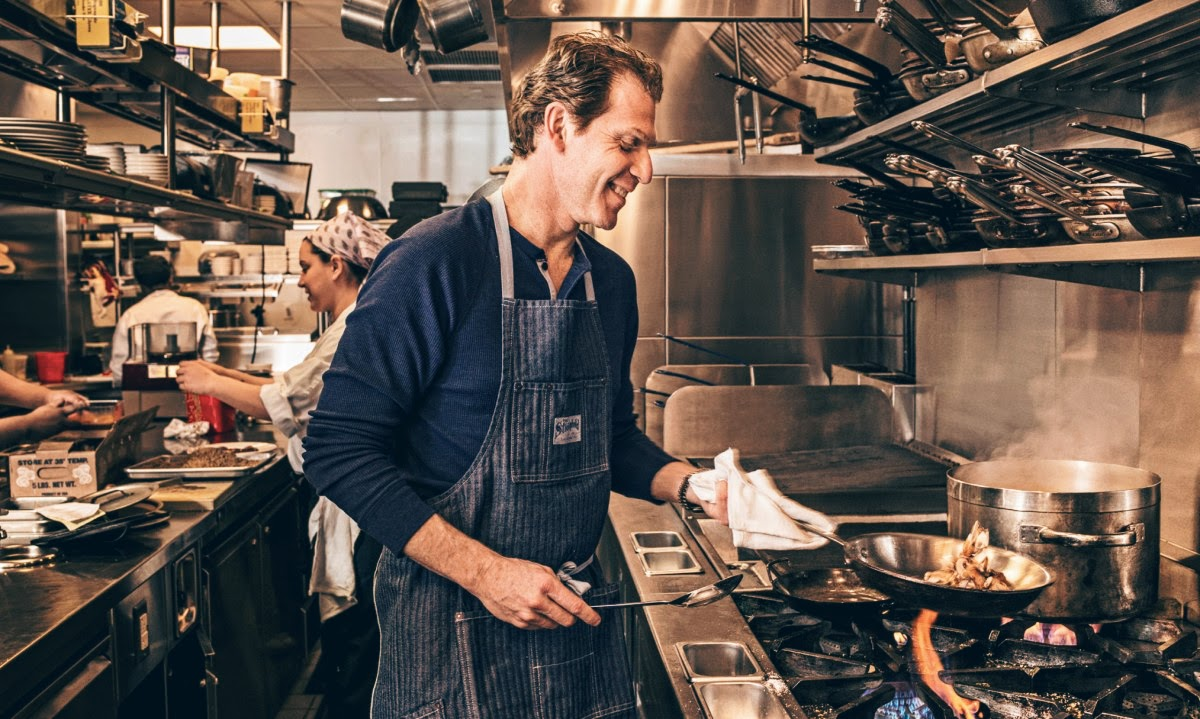 Bobby Flay in the works of GATO's kitchen in Greenwich Village