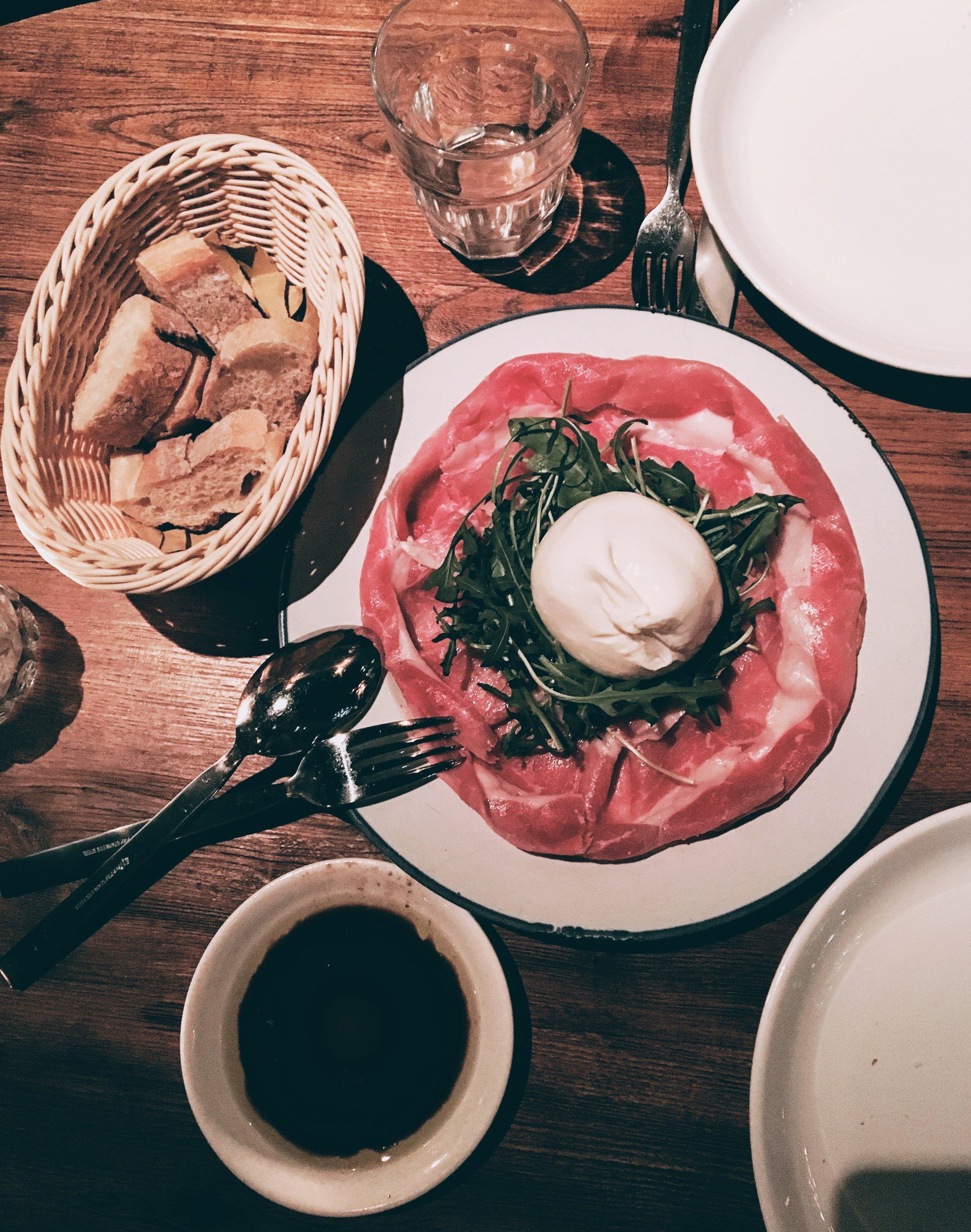 Italian Burratta and Parma Ham at Pirata, Wanchai