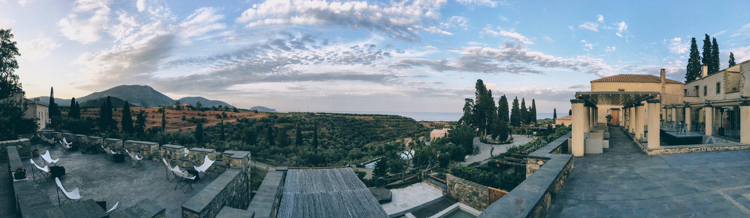 Panoramic view of Kinsterna Hotel
