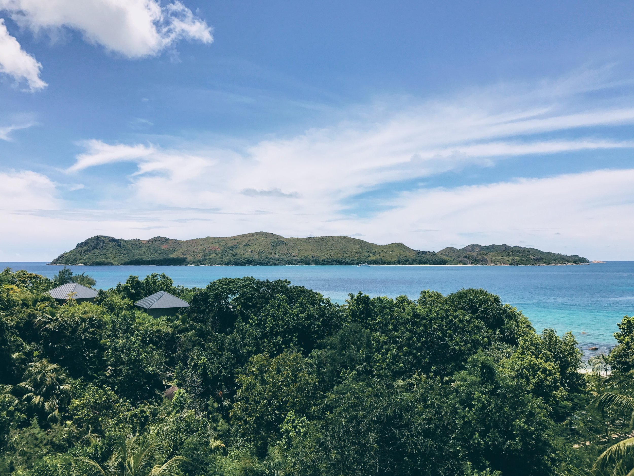 A view of Curieuse Island from Praslin.