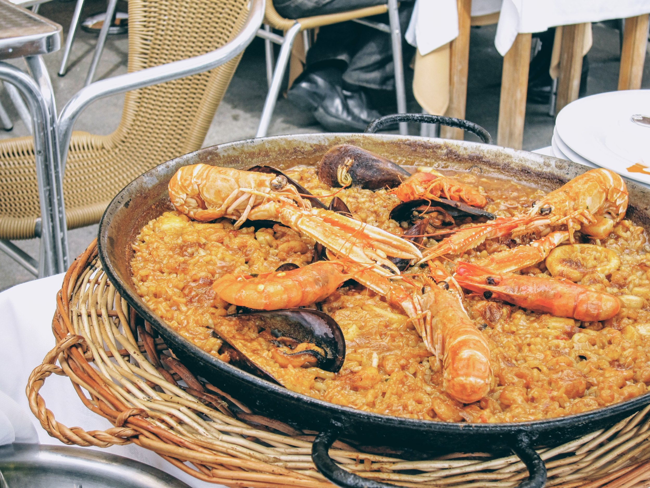Famous Catalan specialty of Seafood Paella in Barceloneta