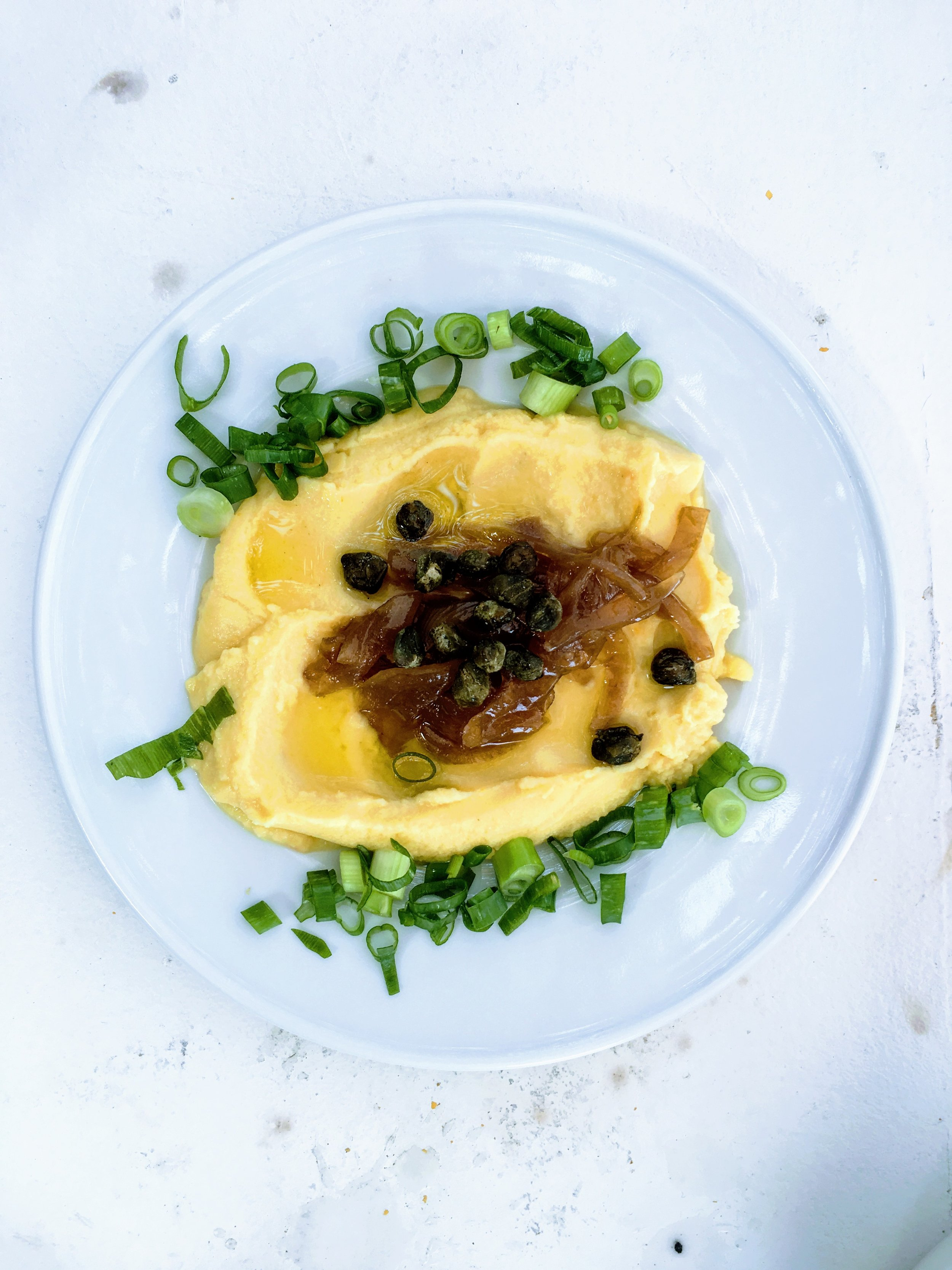 Fava spread with caramelized onions and capers