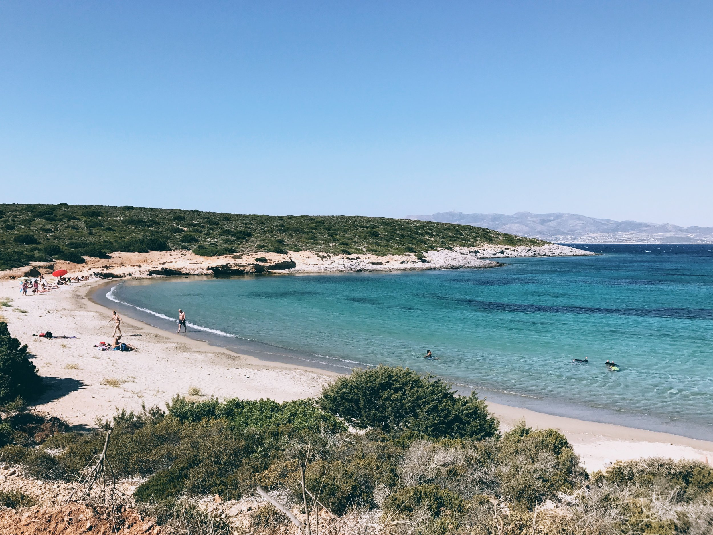 Sostis beach with its signature turquoise waters