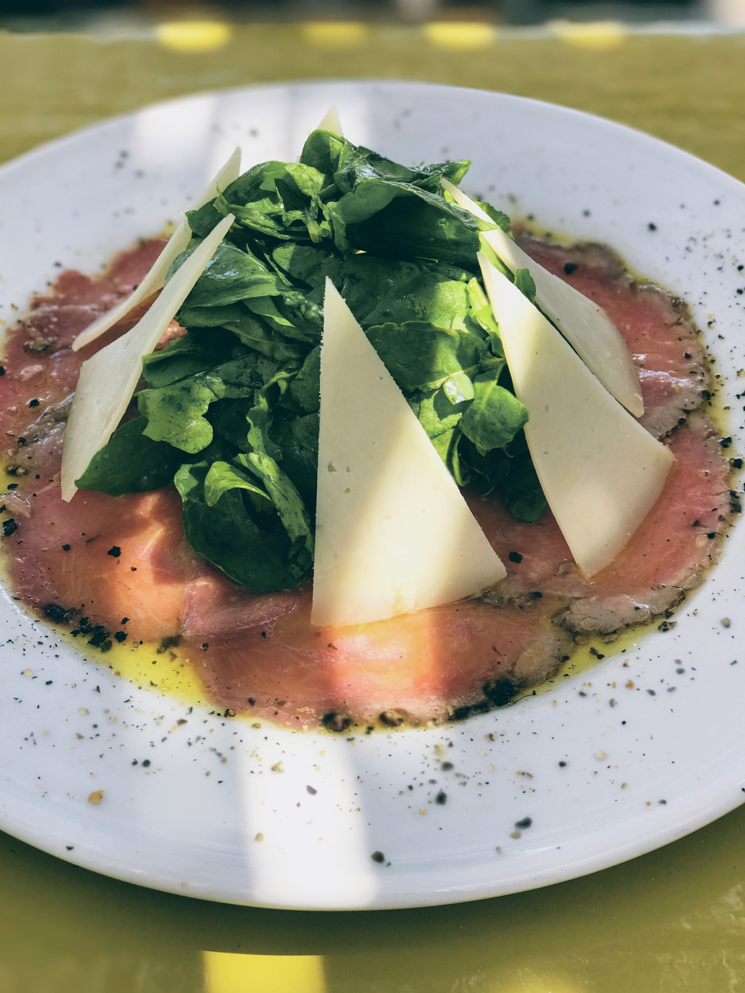 Beef carpaccio with local Naxos cheese