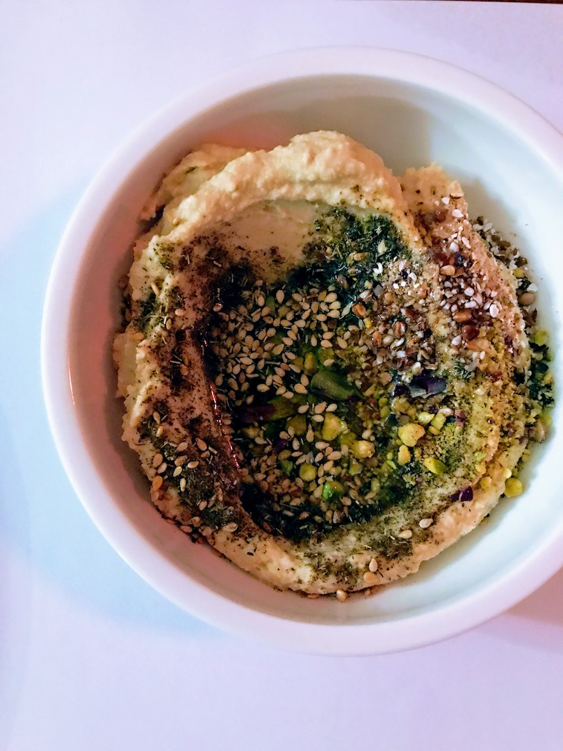 Hummus with zaatar, sesame seeds and Egina pistachio by  Records In The Den  @ Bios pop-up diner