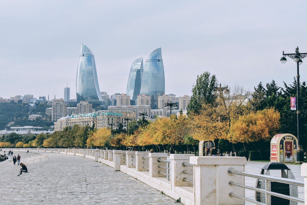 A view of Flame Towers from the Baku Boulevard.