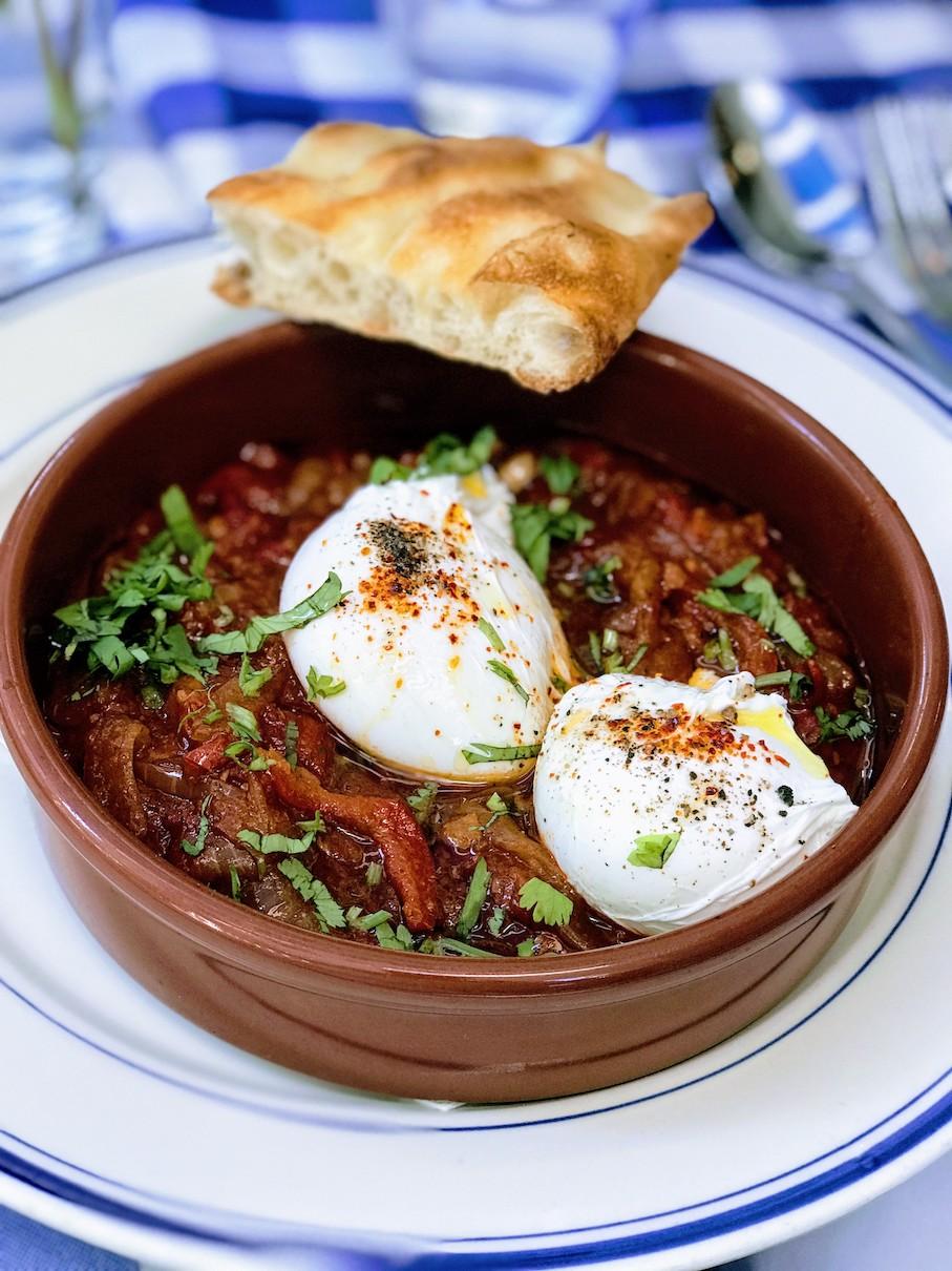 Spicy shakshuka eggs at Claudette