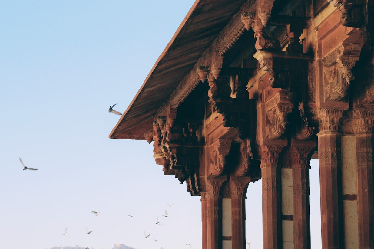 Birds fly around the pavilion at Amer Fort.