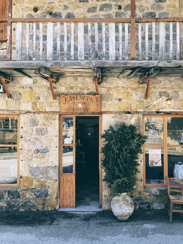 The local coffee shop in the small village of Gkoura