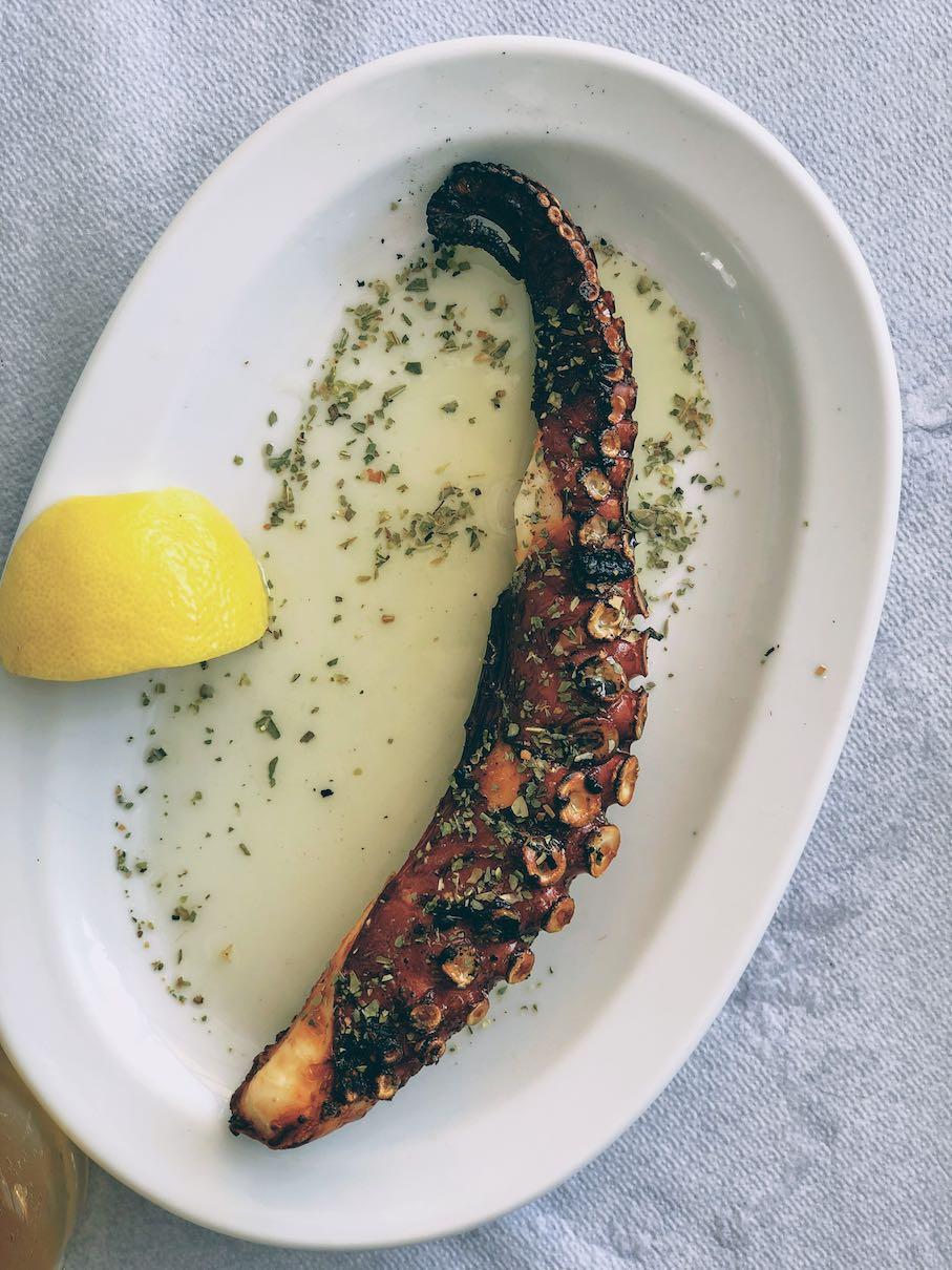 Grilled octopus at Ostria restaurant in Merichas
