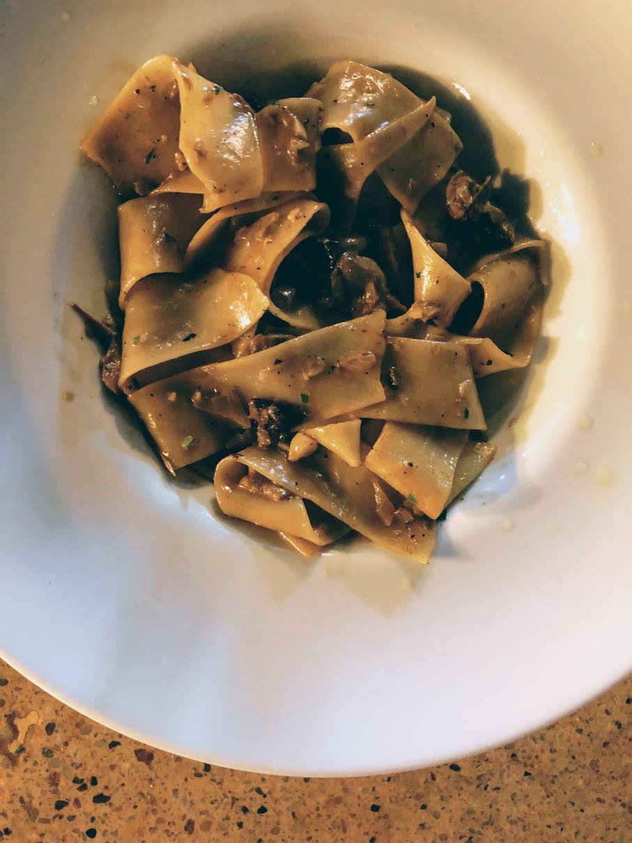 Pappardelle with mushrooms, thyme and truffle oil at Familia restaurant