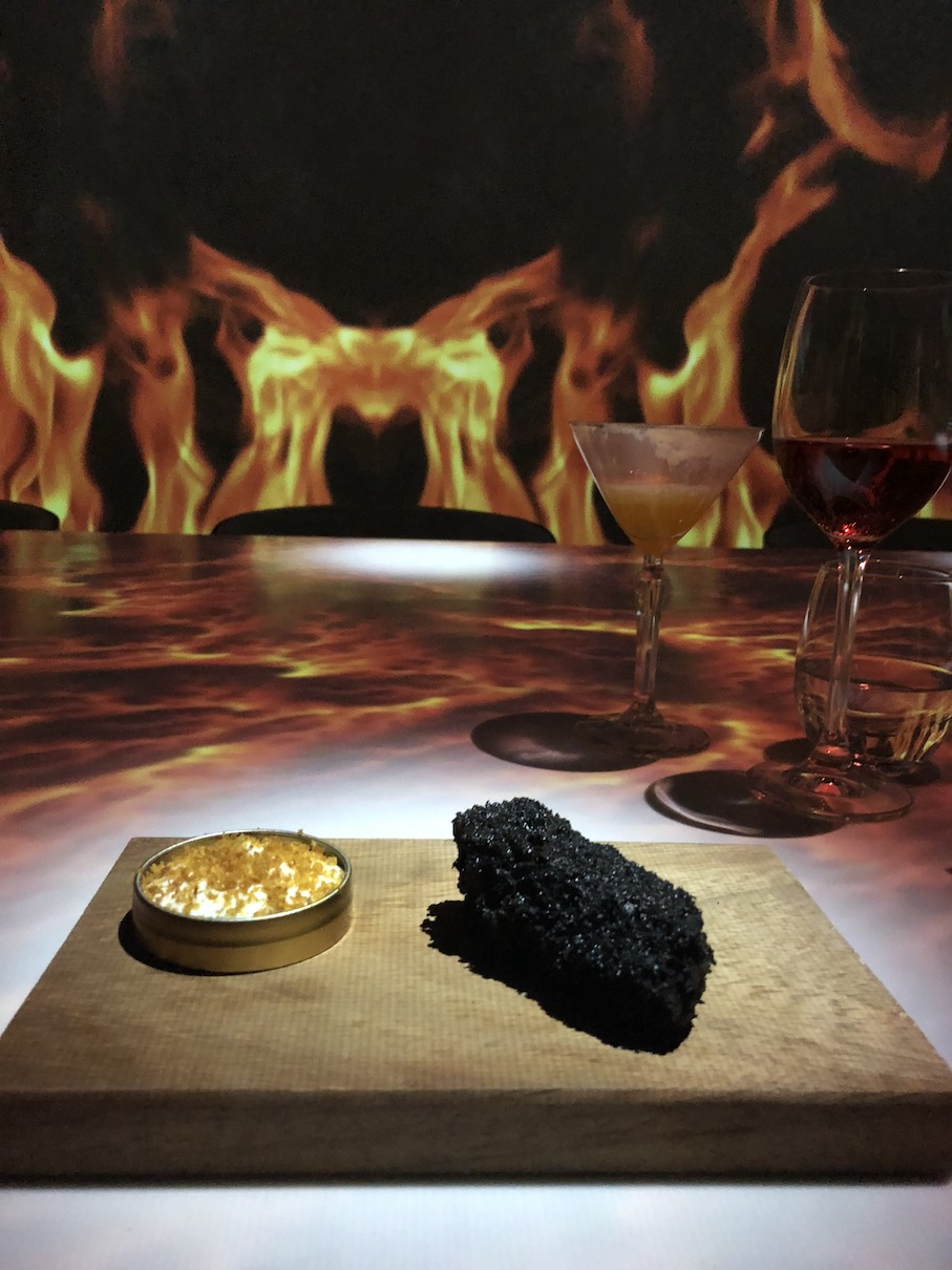 """Probably the most theatrical dish was the """"burned bread"""". It consisted of smoked bread with a side of Greek bottargo from Messolongi"""