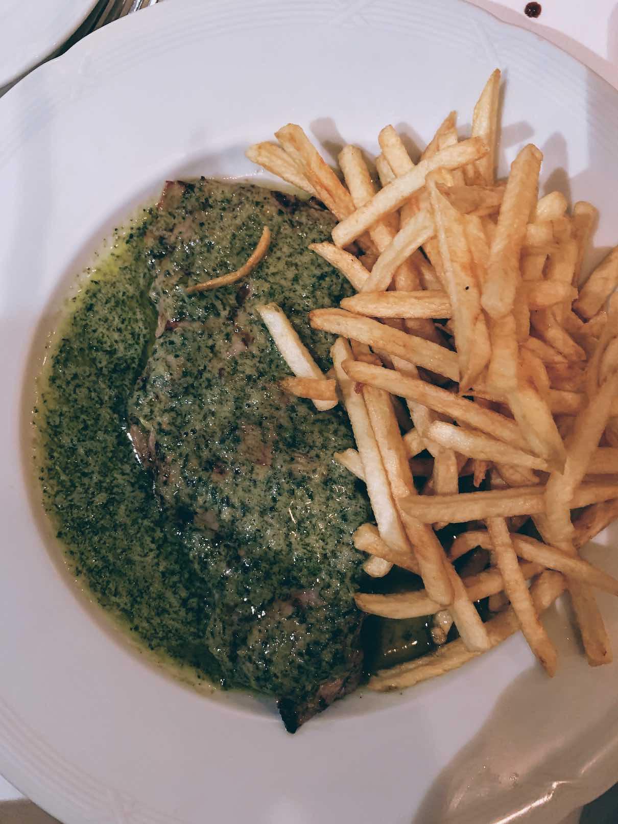 A classic French recipe of enrtecote with Cafe de Paris sauce