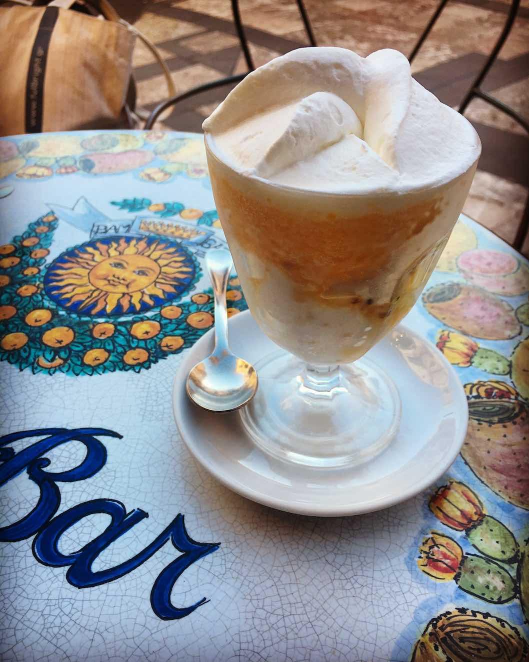 Mandarin and almond granita with fresh cream from BamBar in Taormina