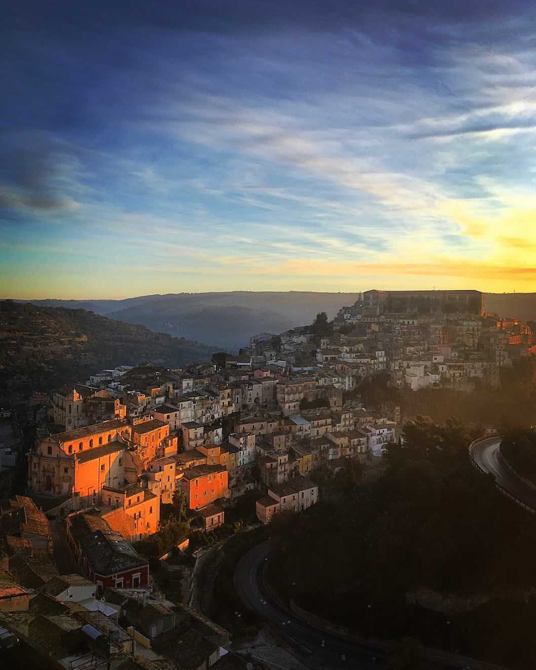 Daylight breaks over Ragusa Ibla, a Baroque town and UNESCO World Heritage Site