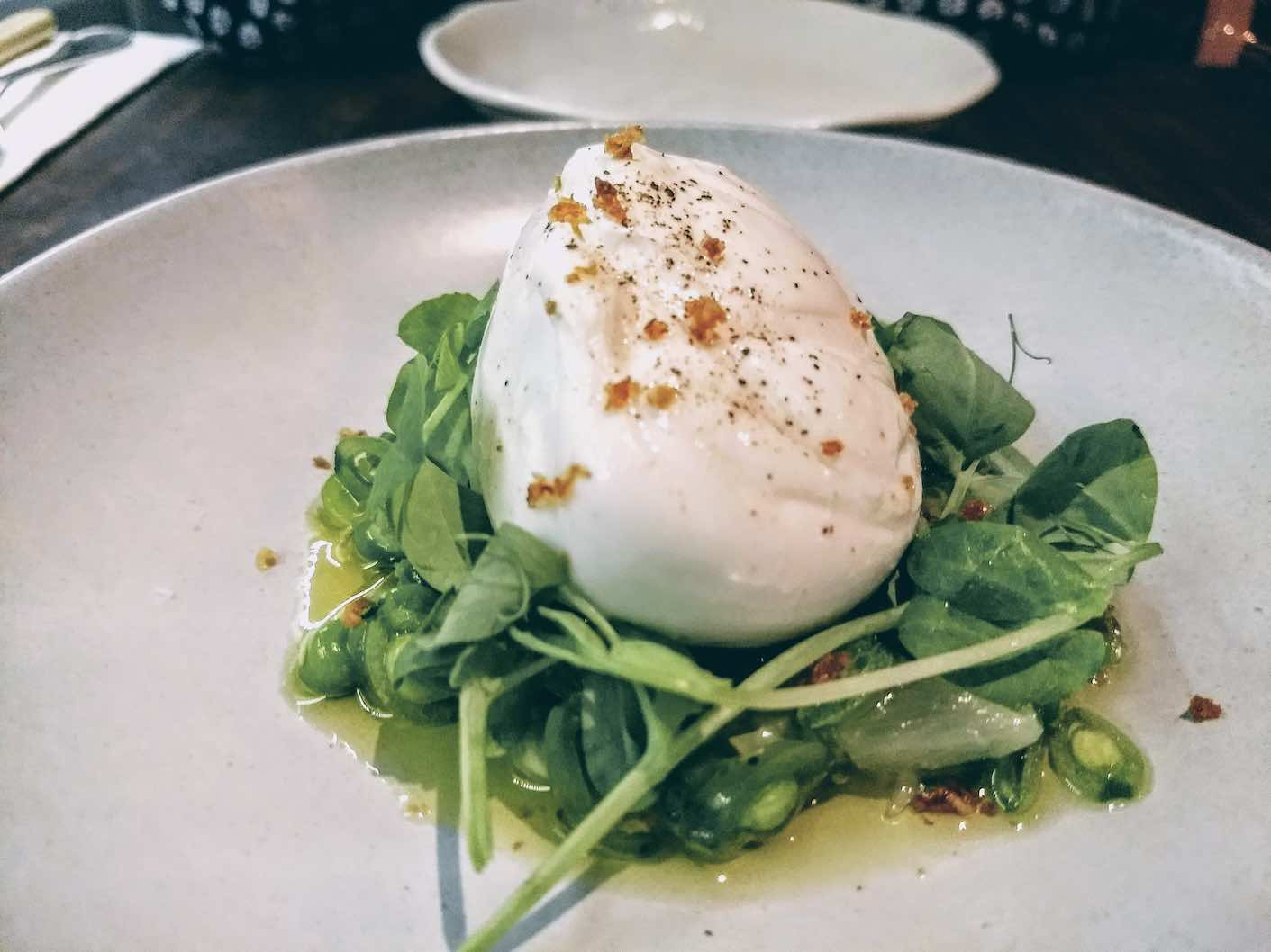 Burrata with Beans, Pea shoots an Garlic at Maggie Jones