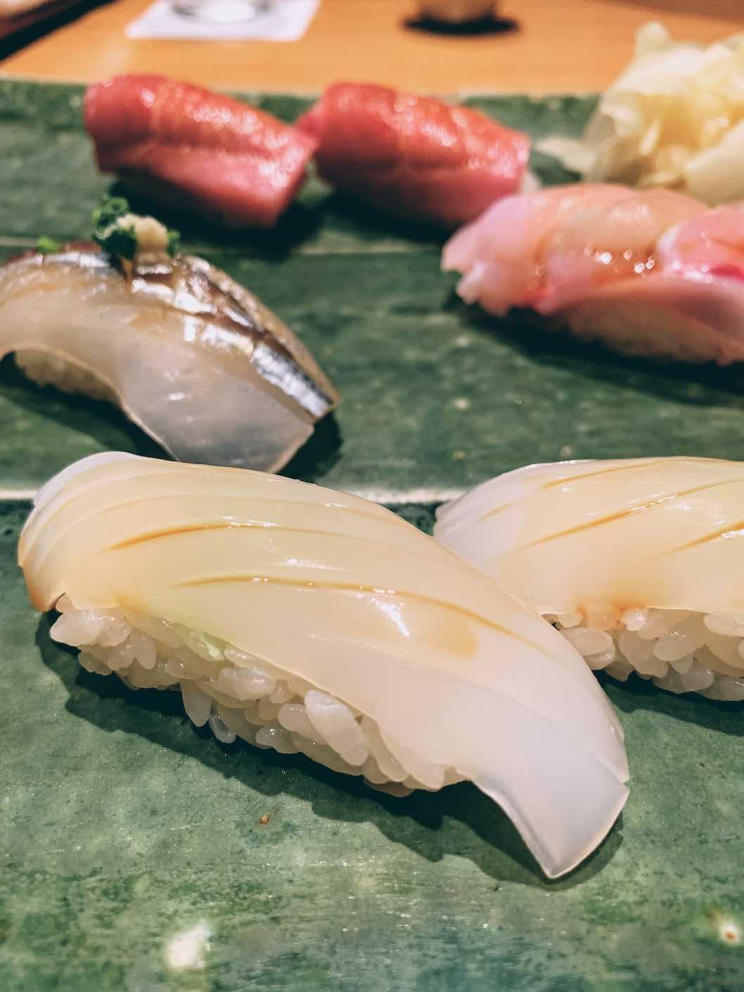 A range of nigiris - squid, horsefish, chūtoro and otoro