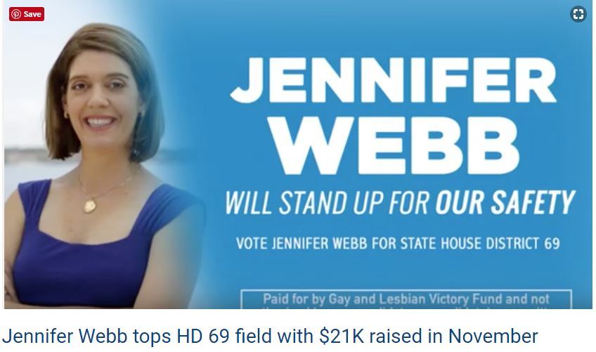 - (N)ew campaign finance reports show Democrat Jennifer Webb posted the highest total for November.