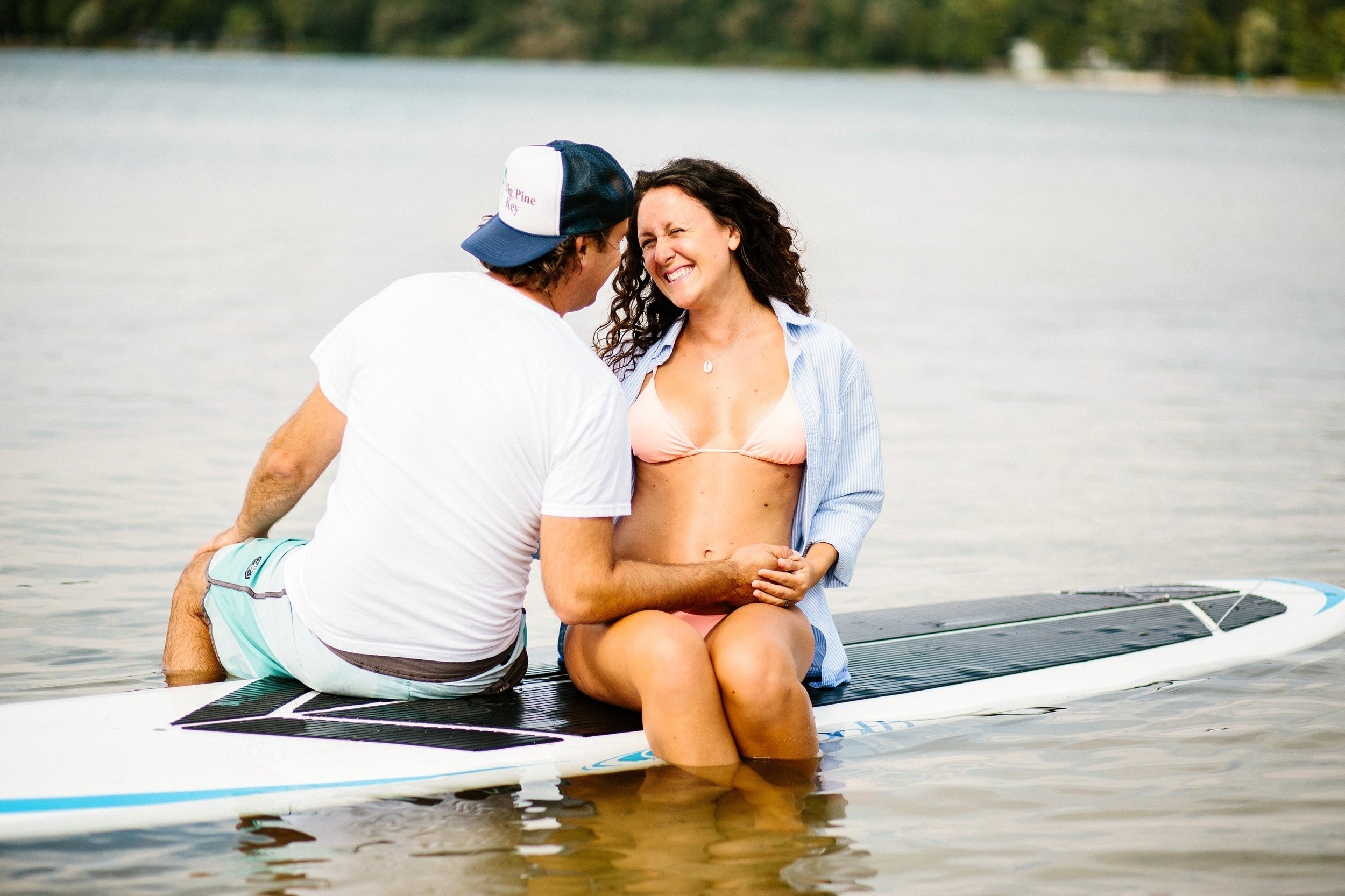 Married Couples Maternity Beach Portrait Session on Paddle Board in Door County WI by Seattle Photographer Janelle Elaine Photography.jpg