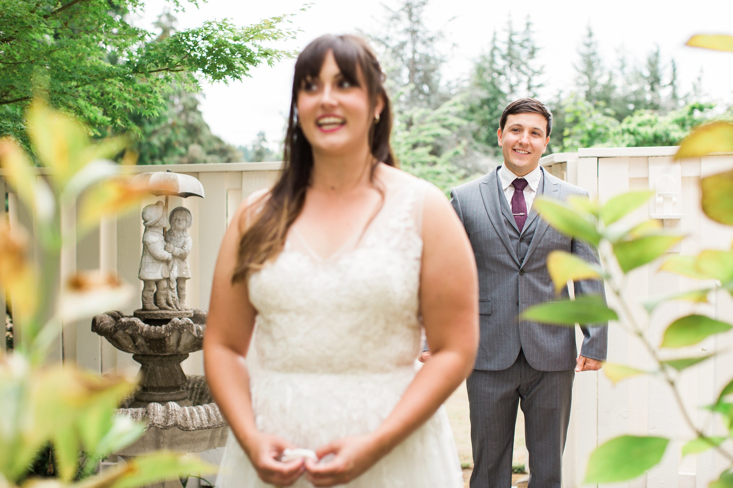 Bride waiting for first look with groom at Romantic Backyard Wedding at Private Residence in Renton WA by Seattle Wedding photographer Janelle Elaine Photography.jpg