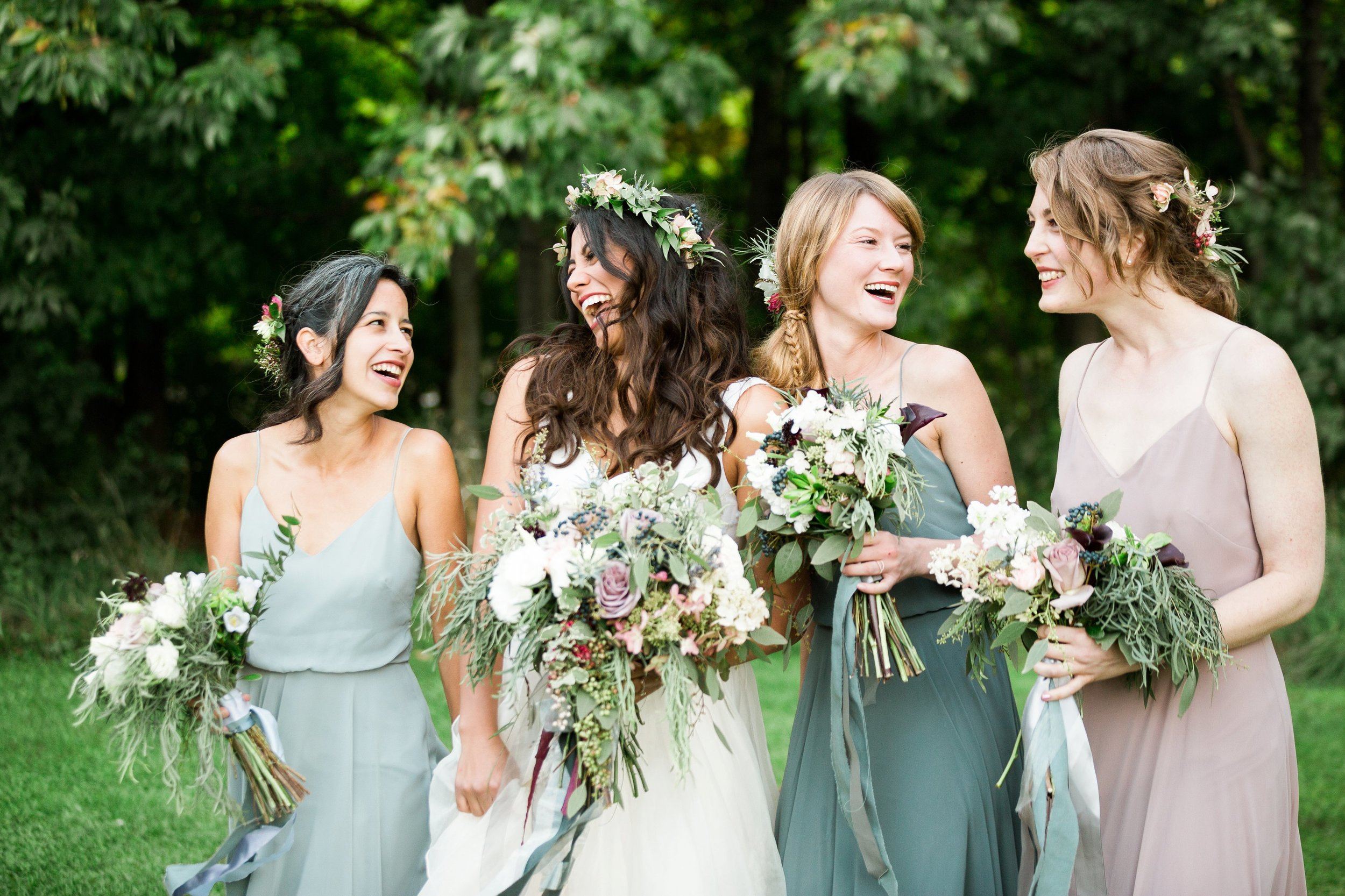 unique boho bridal party outdoor summer wedding seattle wa.jpg