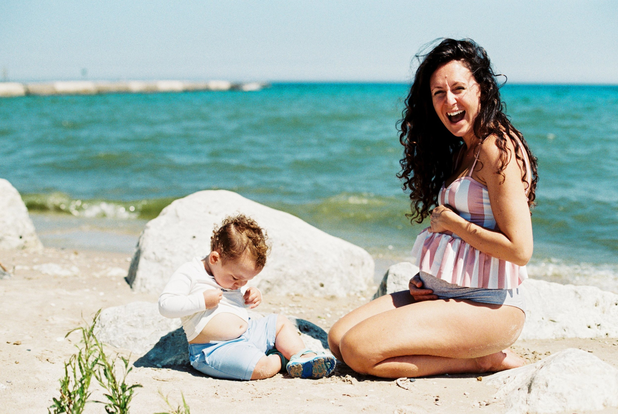 Lake Michigan Summer Beach Pregnant Mother and Baby by Seattle Lifestyle Portrait Photographer Janelle Elaine Photography on film.jpg