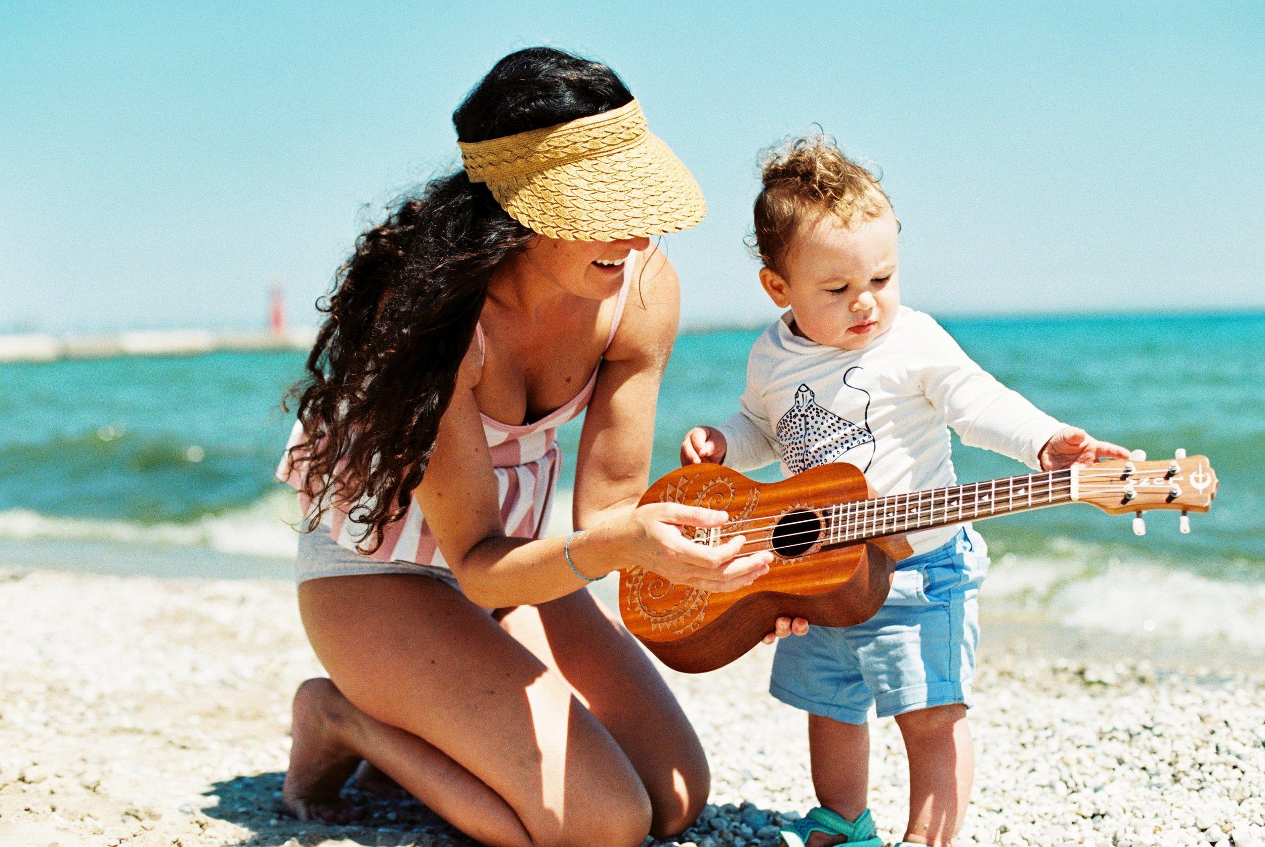 Summer Beach Mommy and Me Ukalele Lifestyle Portrait Photographer Janelle Elaine Photography on film.jpg